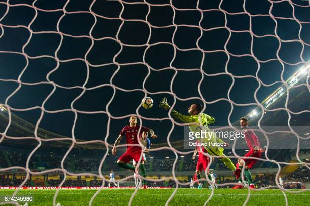 The goalkeeper Beto of Portugal in action saves a goal during the International Friendly match between Portugal and USA at Estadio Municipal Leiria...