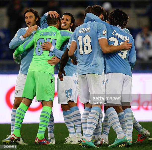 The goalkeeper Juan Pablo Carrizo celebrates with his teammates of SS Lazio after saving two penalties during the Tim Cup match between SS Lazio and...