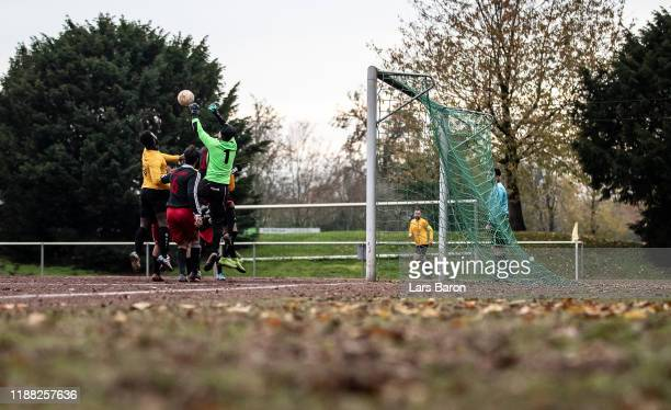 The goalkeeper of Loehberg jumps for the ball during the Kreisliga A match between Yesilyurt Moellen and RW Selimiyespor Lohberg on November 17, 2019...