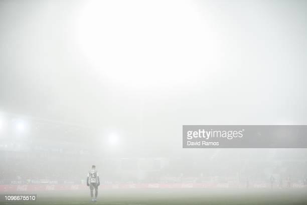 The goalkeeper Roberto Santamaria of SD Huesca looks on during the La Liga match between SD Huesca and Club Atletico de Madrid at Estadio El Alcoraz...