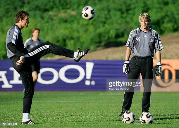 The goalkeepers Jens Lehmann and Timo Hildebrand warm up during the training session of the German National Team for the Confederations Cup 2005 on...