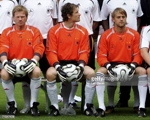The goalkeepers Oliver Kahn Jens Lehmann and Timo Hildebrand are seen during Teamshot of the German National Team for the FIFA World Cup 2006 at the...