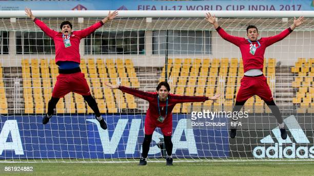 The goalkeepers show how to keep goal as they visit the stadium on matchday 1 during the FIFA U17 World Cup India 2017 tournament at Pandit...