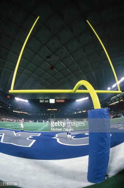 The goalpost at the Silverdome is shown during the San Francisco 49ers game against the Detroit Lions on December 19 1993 in Pontiac Michigan The...