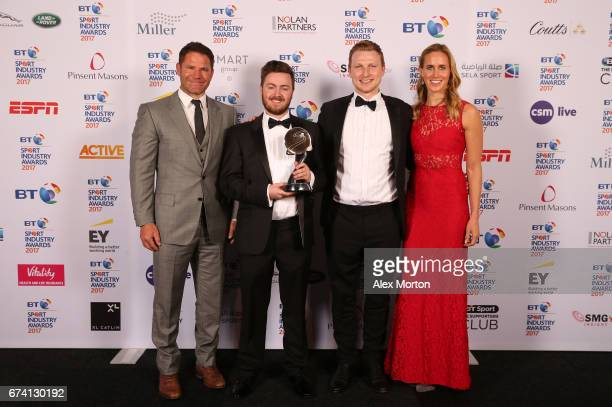 The Goat Agency pose with the Young Agency of the Year award and Steve Backshall and Helen Glover during the BT Sport Industry Awards 2017 at...