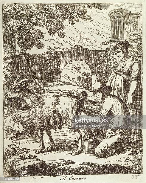 The goatherd by Bartolomeo Pinelli engraving