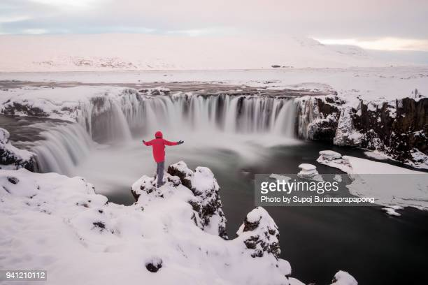 The Godafoss waterfall in Iceland also know as 'waterfall of the gods' or 'waterfall of the god'