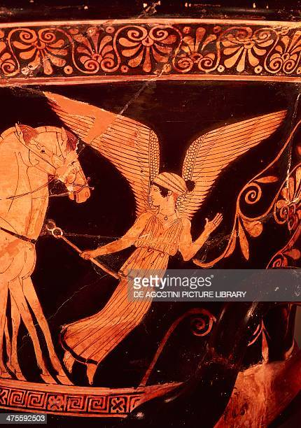 The goddess Iris, personification of the rainbow, detail from a crater, red-figure pottery. Greek civilisation, 5th century BC.