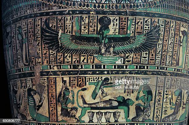 The Goddess Nut above and Isis Nephthys the deceased and his Ba bottom detail from a sarcophagus Egyptian civilisation Cairo Egyptian Museum