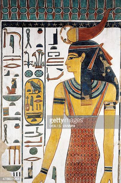 The goddess Selkis fresco entrance to the vestibule Tomb of Nefertari Valley of the Queens Thebes Detail Egyptian civilisation New Kingdom Dynasty XIX