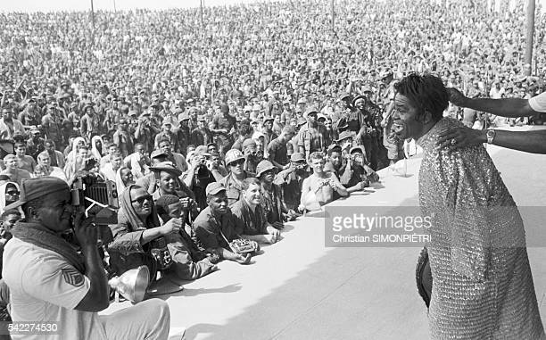 The Godfather of Soul James Brown performs on stage for American troops during the Vietnam War
