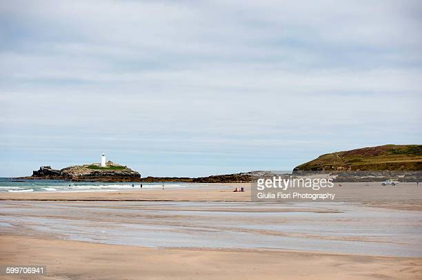 the godrevy lighthouse from gwithian - グイチアン ストックフォトと画像