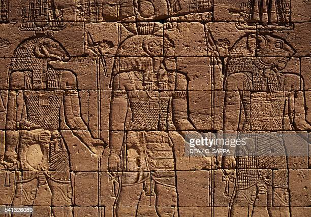 The gods Amun Horus and Apedemak relief on Apedemak temple built by Pharaoh Natakamani Naga or Naqa Egyptian civilisation Sudan 1st century BC1st...