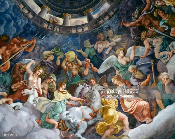 The gods of Olympus 15321535 detail from a fresco by Giulio Romano Chamber of the Giants Palazzo Te Mantua Lombardy Italy 16th century