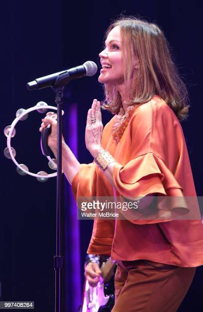 The GoGo's Belinda Carlisle performs during a special curtain call at Broadway's 'Head Over Heels' on July 12 2018 at the Hudson Theatre in New York...