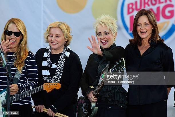The GoGo's Charlotte Caffey Gina Schock Jane Weidlen Belinda Carlisle and Kathy Valentine performs on ABC's Good Morning America at Rumsey Playfield...