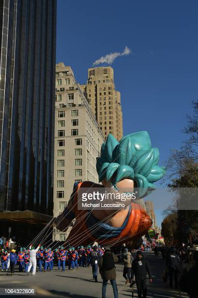 """The Goku from """"Dragon Ball Super: Broly"""" balloon floats along the parade route during the 2018 Macy's Thanksgiving Day Parade on November 22, 2018 in..."""