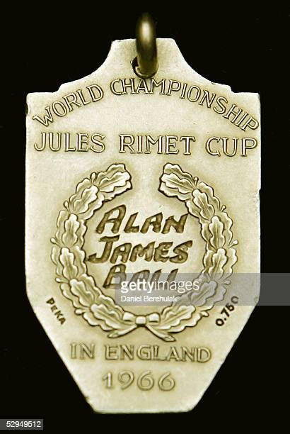 The Gold medal handed to Alan James Ball a member of the winning English World Cup 1966 team sits on display on May 19 in London The Gold medal...