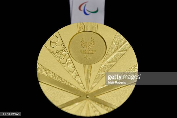 The gold medal is displayed after the Count Down Ceremony of the Tokyo 2020 Paralympic Games One Year To Go at the NHK Hall on August 25 2019 in...