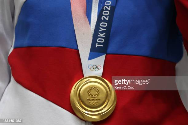 The Gold Medal of Vitalina Batsarashkina of Team ROC following the 25m Pistol Women's Finals on day seven of the Tokyo 2020 Olympic Games at Asaka...