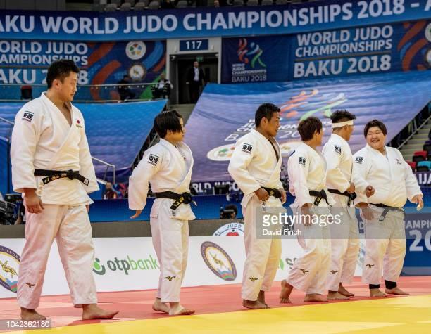 The gold medal winning Japanese team lineup after defeating the French team 4 to 1 The team is Hisayoshi Harasawa Tsukasa Yoshida Arata Tatsukawa...