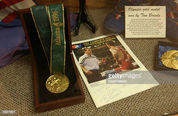 The Gold Medal won by wrestler Tom Brands in the 1996 Olympics is on display on August 2 2003 at the International Wrestling Institute and Museum in...