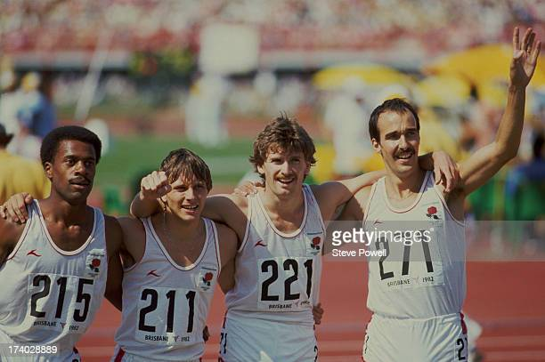 The gold medalwinning English 4x400 metre relay team at the Commonwealth Games in Brisbane Australia October 1982 Left to right Phil Brown Todd...