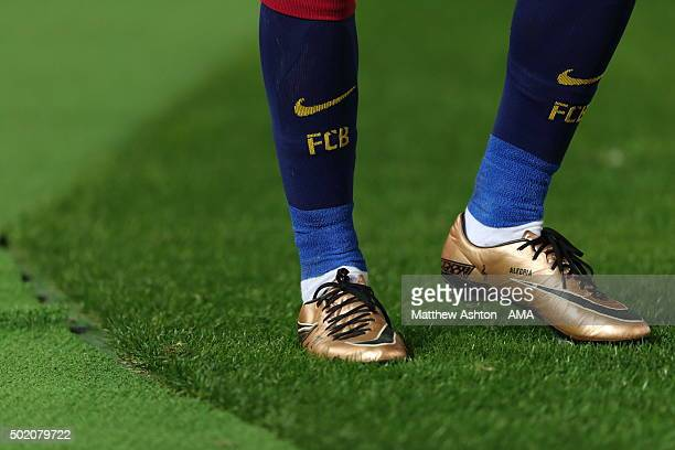 The gold Nike football boots of Neymar of FC Barcelona during the FIFA Club World Cup Final Match between FC Barcelona and River Plate at...