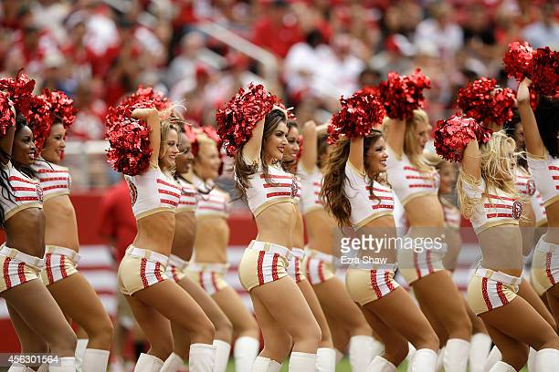 The Gold Rush the San Francisco 49ers cheerleaders perform during their game against the Philadelphia Eagles at Levi's Stadium on September 28 2014...