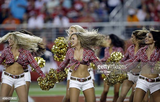 The Gold Rush the San Francisco 49ers cheerleaders perform during their game against the Chicago Bears at Levi's Stadium on September 14 2014 in...