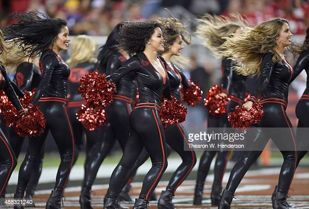 The Gold Rush the San Francisco 49ers cheerleaders performs during the game against the Minnesota Vikings at Levi's Stadium on September 14 2015 in...