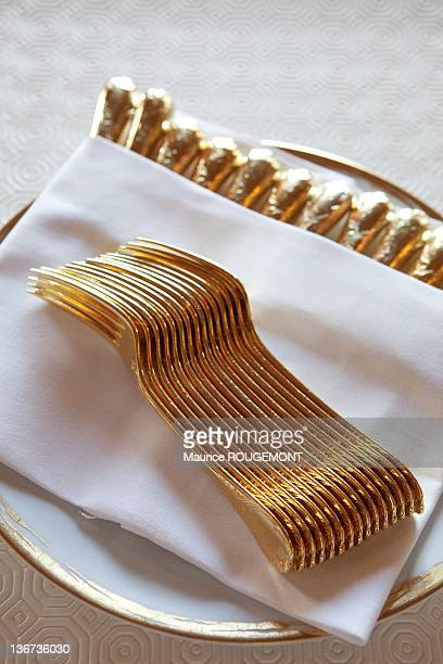 The gold vermeil cutlery at the Restaurant Louis XV at the Hotel de Paris on March 3 2011 in Monaco The Louis XV is overheaded by Alain Ducasse who...