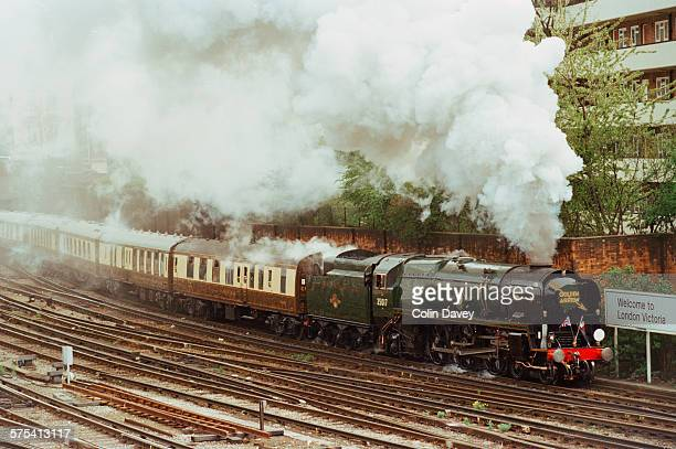 The Golden Arrow pulls into Victoria Station in London pulling the Orient Express coaches behind it 28th April 1996