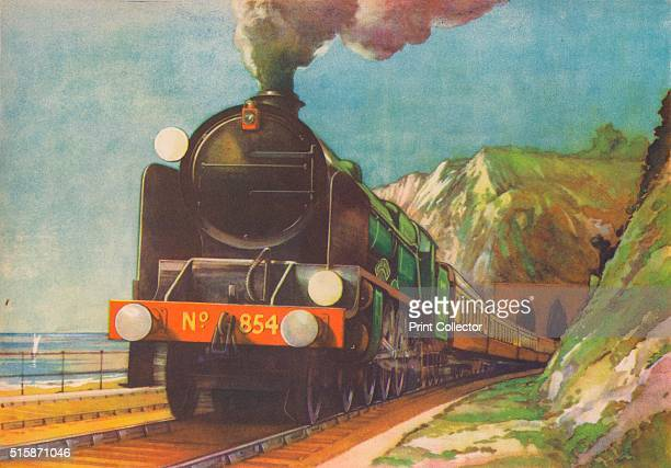 'The Golden Arrow SR leaving Shakespeare's Cliff Dover' 1940 The Golden Arrow was a luxury boat train of the Southern Railway and later British...