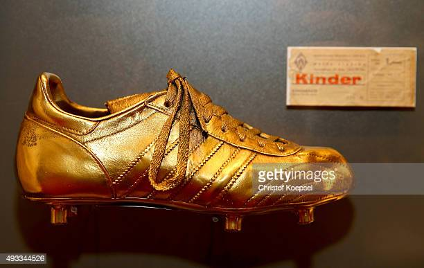 The golden boot of Timo Konietzka who scored the first Bundesliga goal in Bremen at the German Football Museum on October 19 2015 in Dortmund Germany