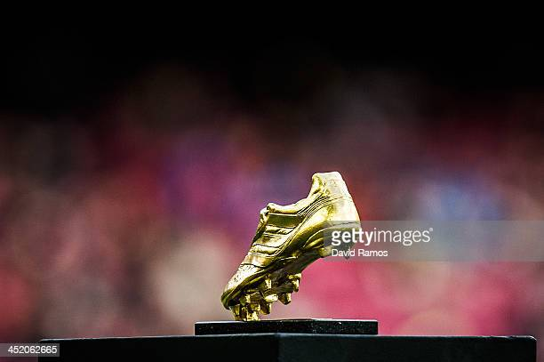 The Golden Boot trophy is on display prior to the La Liga match between FC Barcelona and Granda CF at Camp Nou on November 23 2013 in Barcelona Spain