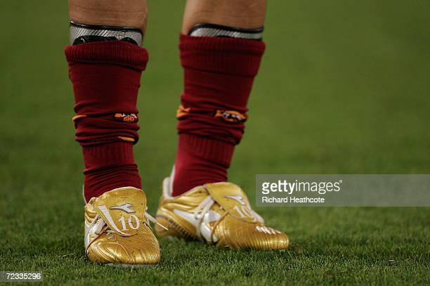 The golden boots of Francesco Totti of Roma during the UEFA Champions League group D match between Roma and Olympiakos at the Stadio Olimpico on...