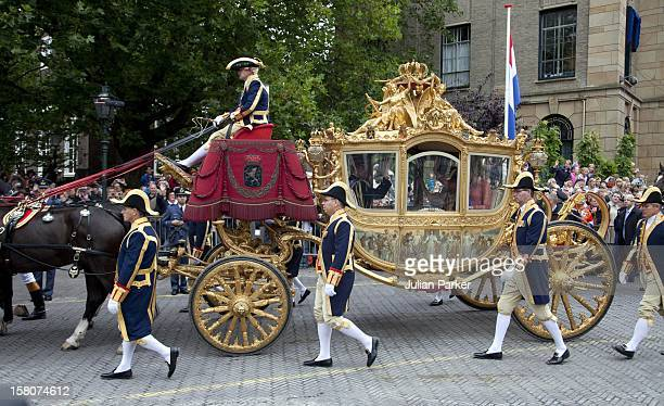 The Golden Carriage Arrives At Noordeinde Palace In Den Haag On Prince'S Day After The Dutch Opening Of Parliament