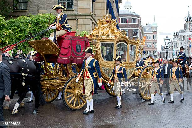 The Golden Carriage arrives back at The Noordeinde Palace during Prinsjesdag on September 15, 2015 in The Hague, Netherlands.