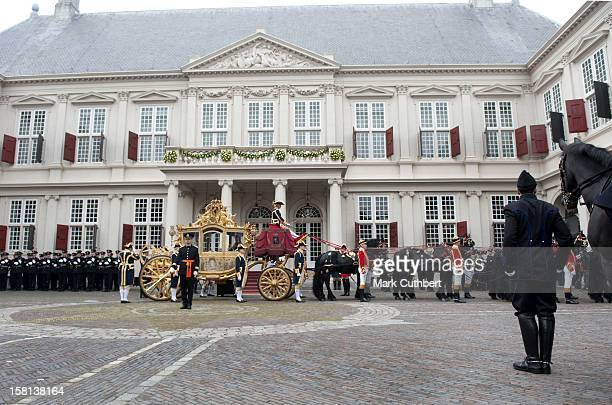 The Golden Carriage At The Noordeine Palace In Den Haag Holland During The Princes Day Celebrations When The New Parliament Is Opened By The Queen