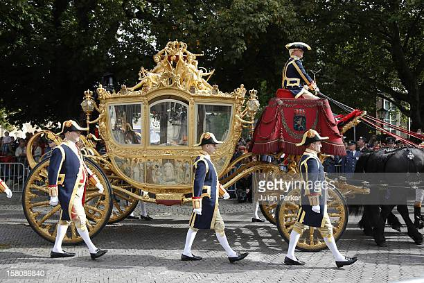 The Golden Carriage Near The Noordeinde Palace During Princes Day Celebrations In Den Haag Holland
