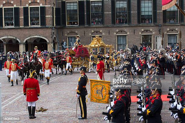 The golden chariot arrives carrying King WillemAlexander and Queen Maxima of The Netherlands arrives at the Ridderzaal during celebrations for...