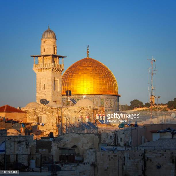 The golden dome in the beautiful light of the sunset, Dome of the Rock in the Old City of Jerusalem