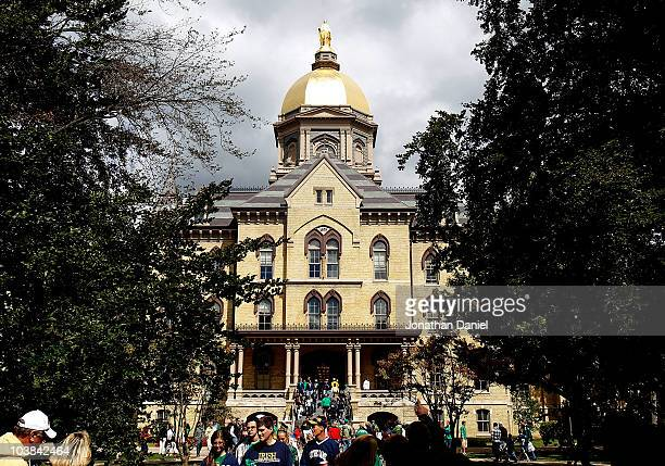 "The ""Golden Dome"" is seen on the campus of Notre Dame University before a game between the Notre Dame Fighting Irish and the Purdue Boilermakers at..."