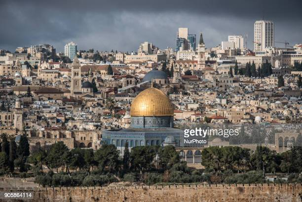 The golden dome of the Dome of the Rock on Temple Mount in front of the Old City of Jerusalem Israel on 6 January 2018