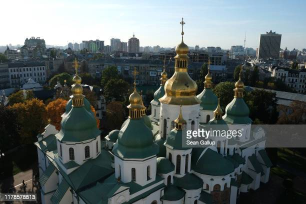 The golden domes of St. Sophia's Cathedral stand in the city center on October 02, 2019 in Kiev, Ukraine. Ukraine has found itself at the core of a...
