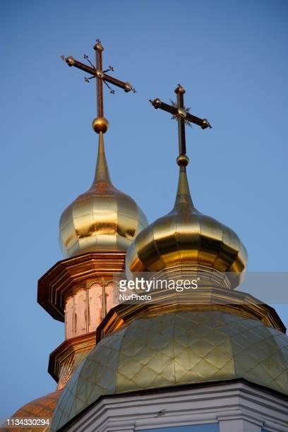 The golden domes of the Saint Michael's Monastery are seen in Kyvi Ukraine on April 1 2019