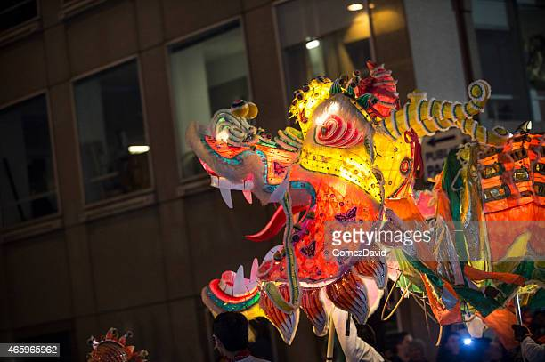 The Golden Dragon Dance Float in Chinese New Year Parade