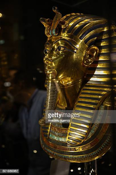 The golden funerary mask of Tutankhamun a king of Ancient Egypt is being displayed during an unveiling ceremony at the Egyptian Museum after its...