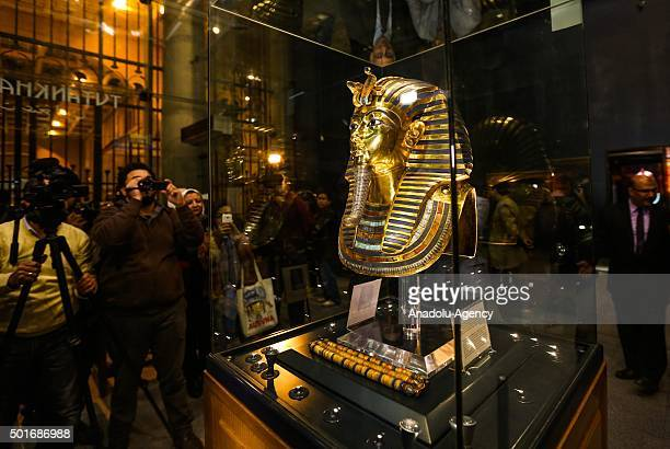 The golden funerary mask of Tutankhamun, a king of Ancient Egypt is being displayed during an unveiling ceremony at the Egyptian Museum after its...
